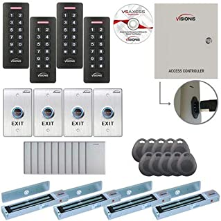 Visionis FPC-7295 Four Door Access Control for Outswing Door 600lbs MagLock Time Attendance TCP/IP Wiegand Controller, Black Card Reader and Keypad, 10,000 Users Software Included