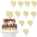 Winbao10 Pcs Happy Mother's Day Cake Topper Acrylic Cake Topper Mother's Day Cupcake Topper Heart Shaped Cake Picks Cake Accessories for Birthday Mother's Day Gifts Cake Decoration Party (Gold)