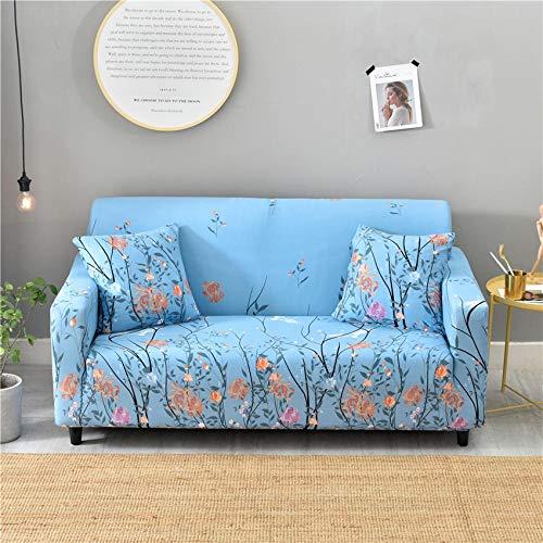 CURTAINSCSR Funda de Sofá Elástica Azul Sofá Cubierta Estampada Poliéster y Elastano Funda de Sofá para Sala de Estar Funda Antideslizante para Muebles, 1 Plazas: 90-140 cm