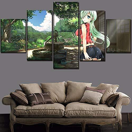 aicedu One Set Artwork 5 Panel Nanatzu No Taizai Anime Los Siete Pecados Muertos Impresión de la Lona Pintura del Arte de la Pared Decoración Marco