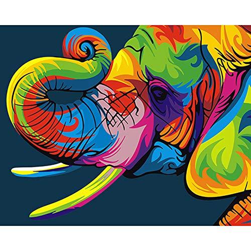 Pintura por números, Elefante colorido Kits de Pintar acrílica DIY para Adultos Niños Principiantes Fácil sobre Lienzo 40x50 cm con Pinturas y Pinceles (sin Marco)
