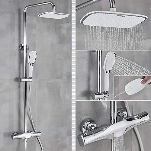 PLUIEX Sistema de Ducha Grifo de Ducha termostático para baño, Grifo Mezclador de Ducha de Lluvia Cromado, Grifo de bañera montado en la Pared, Sistema de Ducha, Juego de Ducha de baño, Cromo termos