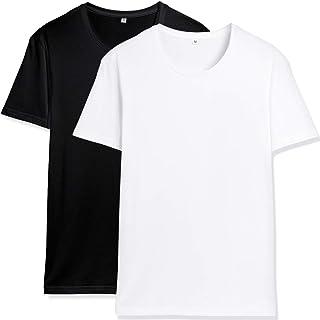NEWHEY Tシャツ メンズ 半袖 カットソー 無地 2枚組 クルーネック ゆったり 綿100 夏物 柔らかい 通勤 通学 白 黒