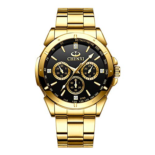 Gold Men's Luxury Wrist Watches for Man,Black Face Stainless Steel Classic Business Golden Series Watch
