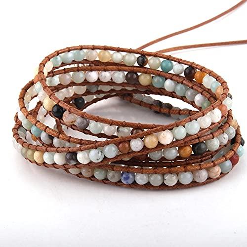 YUNHE Joyería de Moda para Mujer, Pulsera de Cuero marrón, Hecha a Mano, 5 hebras, 4 mm, Pulseras envueltas con Piedras Naturales