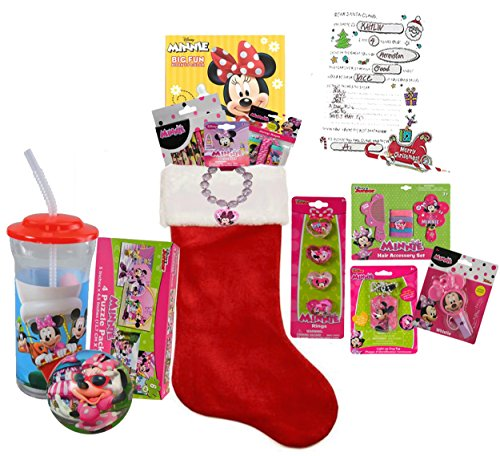 "Disney Minnie Mouse Inspired Girl's All Inclusive Kids 12pc Pre-Filled Christmas Stocking! Plus Bonus ""Letter To Santa"""