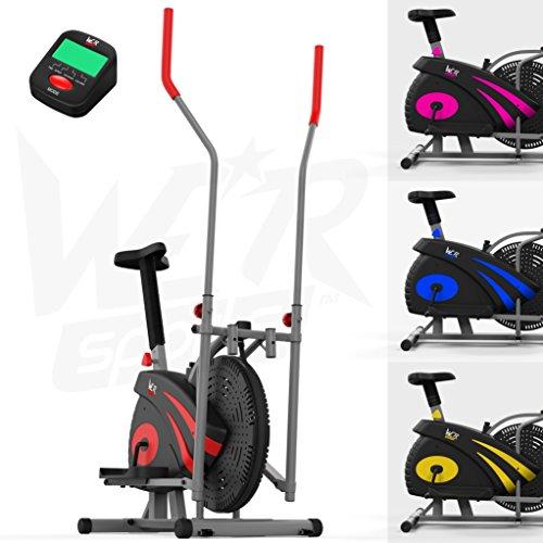 We R Sports 2-in-1 Ellittico Attraversare Allenatore & Esercizio Bici Casa Fitness Cardio Allenamento Macchina (Red)