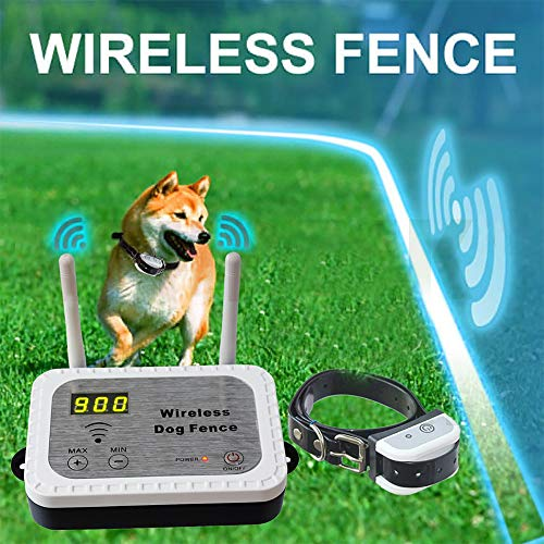 JUSTPET Wireless Dog Fence Containment System, Safe Vibrate/Shock Dog Fence, Adjustable Control Range Display Distance, Rechargeable Waterproof Collar (1 Collar Kit + 14 Flags)