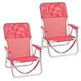 Pack de 2 sillas Playa fijas de Asiento bajo de Aluminio y textileno de 54x40x71 cm (Coral)