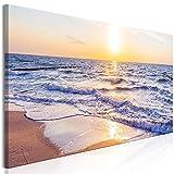 murando Cuadro en Lienzo Playa Mar 135x45 cm 1 Parte impresión en Material Tejido no Tejido Cuadro de Pared impresión artística fotografía gráfica decoración Puesta del Sol Sunset c-B-0389-b-d