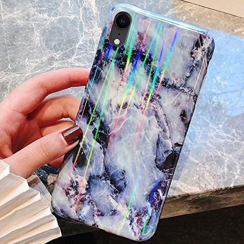Uposao Kompatibel mit iPhone XS Max Hülle Silikon Ultra Dünn Handyhülle 3D Marmor Bunt Muster Weich TPU Schutzhülle Etui Kratzfest TPU Bumper Handytasche Rückschale Case Cover,Schwarz Weiß