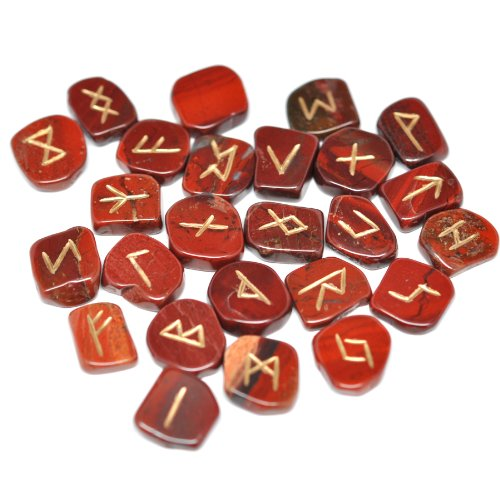 Rainbow Jasper Gemstone Engraved Elder Futhark Rune Set - Wicca ,Pagan,celtic,new Age and Metaphysical By Zimras