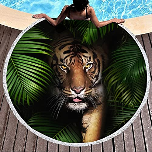 MINNOMO Large Round Beach Towel with Tassels Tropical Rainforest Tiger Print Gypsy Round Fringe Beach Throw White5 150 cm