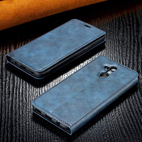Protector de Pantalla Retro Simple de Cuero magnético Ultrafino con Soporte y Ranuras para Tarjetas y cordón para Huawei Maimang 7, Zhongxianshangmaoyouxiangongsi (Color : Blue)