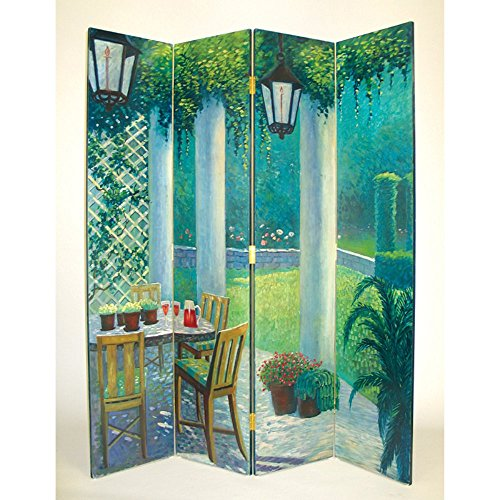 Wayborn Hand Painted 4 Panel The Patio Room Divider Room Divider
