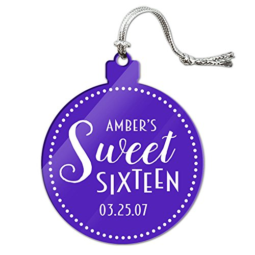 Graphics and More Personalized Custom Dark Purple Dotted Circle Name's Sweet Sixteen Date Birthday Acrylic Christmas Tree Holiday Ornament