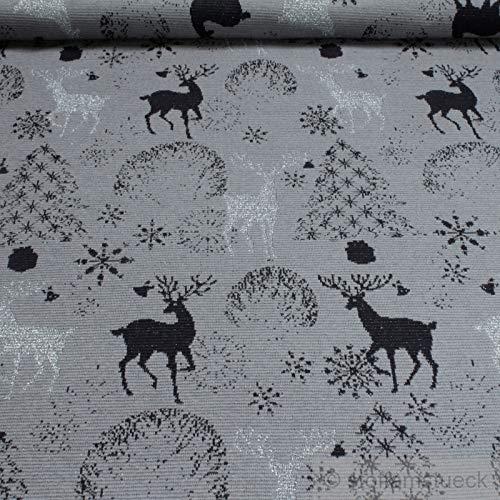 Stoff am Stück 0,5 Meter Stoff Baumwolle Lurex Elastan Jacquard Jersey grau Hirsch Öko-Tex