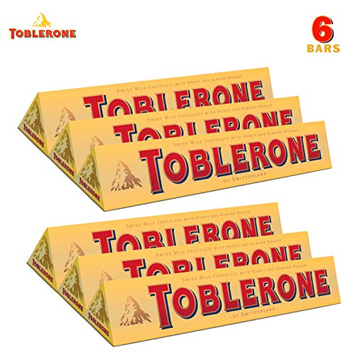 TOBLERONE SWISS MILK CHOCOLATE WITH HONEY AND ALMOND NOUGAT 6 Count of 352 oz bar 2112 oz