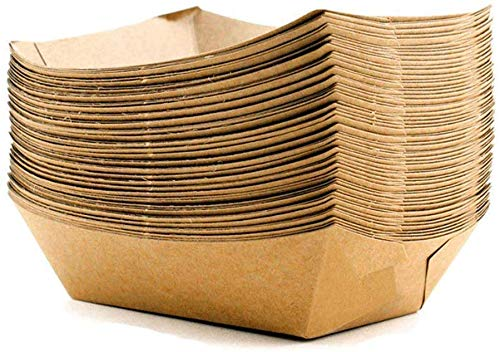 [50 pcs] 600ml Large Brown Biodegradable boats with Organic Coating, Small to Large Paper Food Trays, Cardboard Bowls, disposable burger tray, compostable sandwich tableware, eco friendly