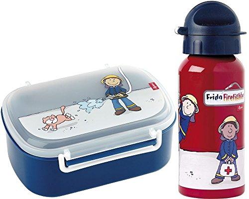 Sigikid Brotdose 24474 und Trinkflasche Frido Firefighter Feuerwehr 24484 Geschenkset für Kindergartenkinder oder ABC Schützen inkl. Geschenkverpackung