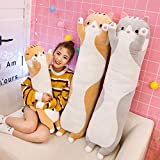STHMG Stuffed Animals & Plush Toys Gray Long Cat Pillow Cartoon Cute Cat Lazy Sleeping Pillow Girl Heart Cat PP Cotton Plush Toy (Size : 130cm),Size:130cm (Size : 130cm),Size:130cm ( Size : 130cm )