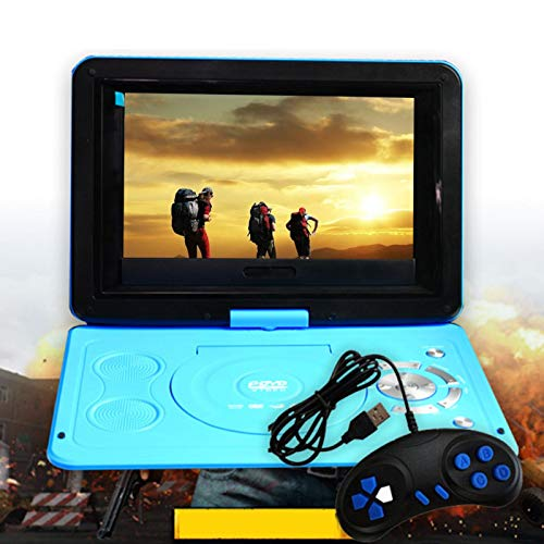 Reproductor de DVD portátil de 13,9 pulgadas con pantalla giratoria HD de 10,1 pulgadas, gran batería integrada, compatible con tarjeta SD/MS/MMC y USB, radio FM, reproducción 3D
