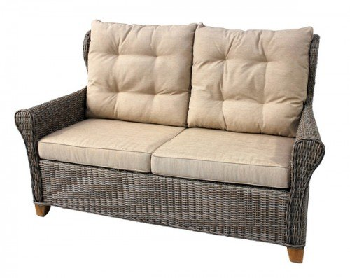 'trenzado Lounge de sofá'Bora Bora Natural/teca con cojín