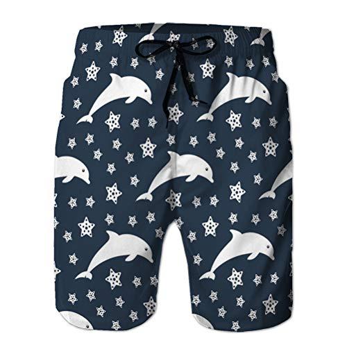 NA Herren Beach Shorts Lässig Klassische Badehose Delfine Himmel Seemuster Delfin Silhouetten Sterne dunkelblau Zeichnung