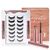 Dongyu Magnetic Eyelashes and Magnetic Eyeliner Kit, 7 Pairs 3D and 5D different Lengths & Densities Magnetic Eyelashes, 2 Tubes of Magnetic Eyeliner and Tweezer, Natural Look & Reusable False lashes