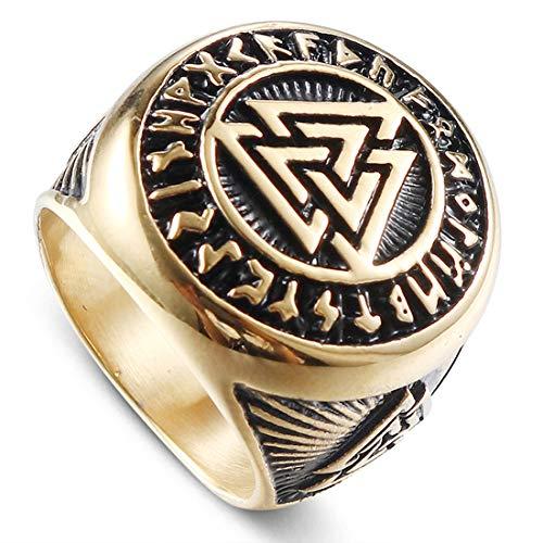 AllRing Heren Ring Titanium Steel Ring Vintage Ring Gepersonaliseerde Keltische Knoop Ring Driehoek Symbool Sieraden Eenvoudige Zilveren Ring Mannen Sieraden Gift 13 Goud