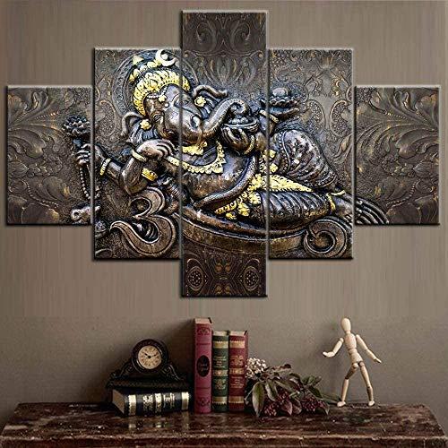 Djdasn Ganesh Cartel E Impresiones En Lienzo Cuadros Indios Hindúes Señor Dios Ganesh Pinturas 5 Piezas/Panel Múltiple Arte De La Pared Arte Contemporáneo Decoración Del Hogar Para Sala De Estar ba