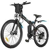 BIKFUN E-Bike 26 Zoll Elektrofahrrad Herren Damen E-Mountainbike Ebike Pedelec E-Klapprad mit Doppelstoßdämpfer, 36V/8Ah Abnehmbarer Akku, 250W Motor, Shimano 21 (schwarz)
