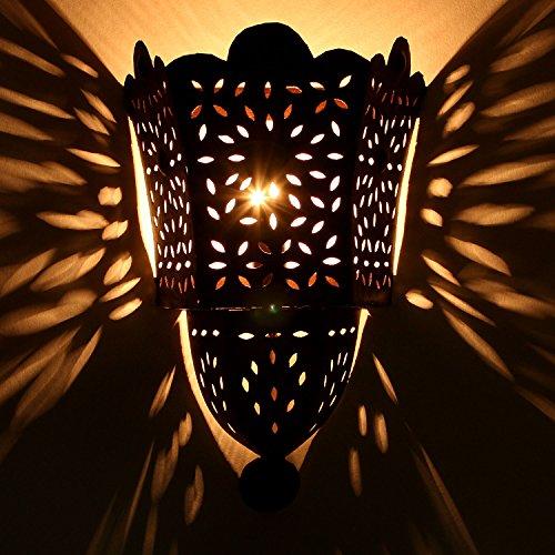Orientalische Wandlampe marokkanische Wandleuchte EWL34   H 33 x B 22 cm edel rost-braun Eisen-Lampe für Flur & Wand-Deko   Prachtvolle Wandstrahler für tolle Lichteffekte wie aus 1001 Nacht   L1791