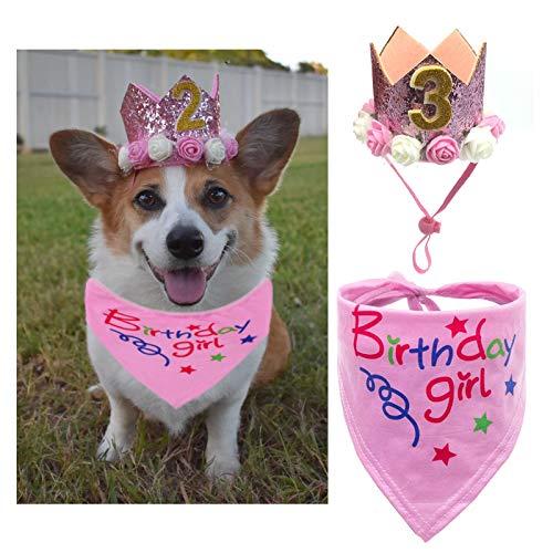 POSAPET Dog Birthday Bandana Scarfs Girls Crown Dog Birthday Hat Doggie Cat Triangle Scarf Set Pet Birthday Decoration Pink