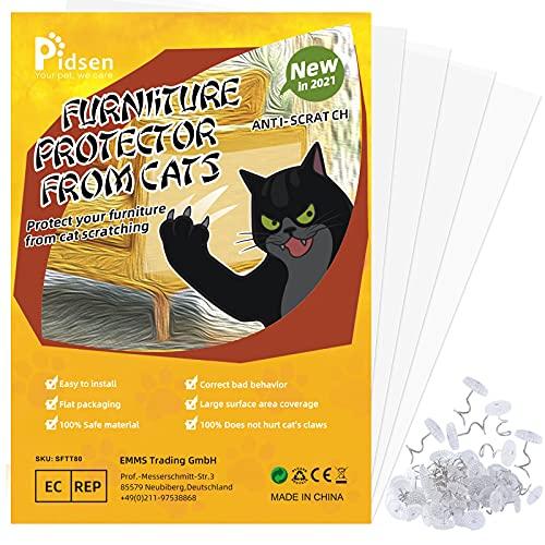Pidsen Protector de Muebles Gatos, 4PCS Transparente Autoadhesivas contra Arañazos de Gato Protector con 24 Tornillos Rascador para Gatos y Perro, Protector de sofá para Detener
