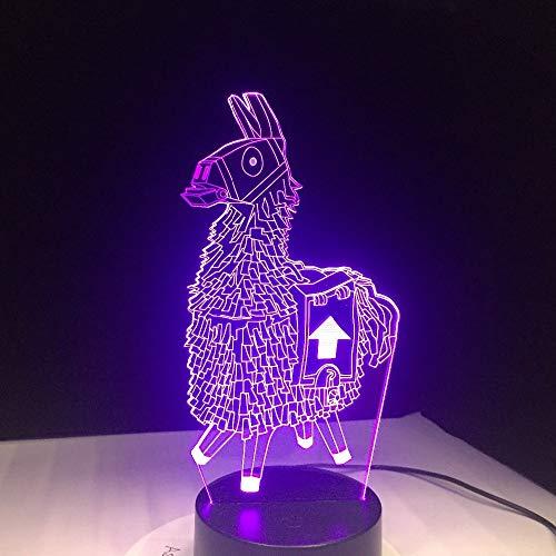 tzxdbh 3D-illusie, 7 veranderende kleuren, Llama S Touch Lava acryl illusie Atmostouch nachtlampje ter decoratie van de slaapkamer voor kinderen cadeau voor kinderen