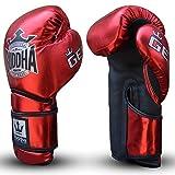 Guantes de Boxeo Muay Thai Kick Boxing Buddha Pro Gel (10 Onz, Rojo)