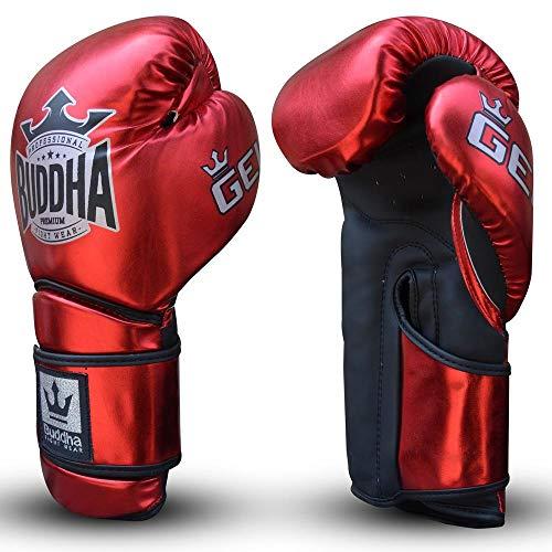 Guantes de Boxeo Muay Thai Kick Boxing Buddha Pro Gel (14 Onz, Rojo)