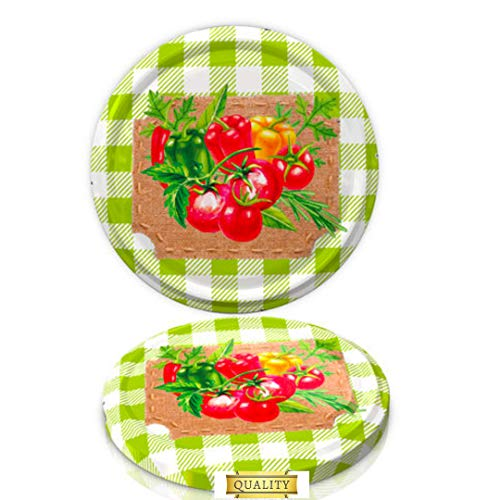 82 mm Spare Lids For Pickle and Larger Jars/Multipurpose (Twist Off Lid) (Tomato on Green, 10)