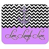 Live Love Laugh in Purple Colorblock Chevron con Anclaje Rectángulo Alfombrilla de Goma Antideslizante para Juegos, Alfombrilla para ratón, Alfombrilla para ratón 30 * 25 * 0.3 cm