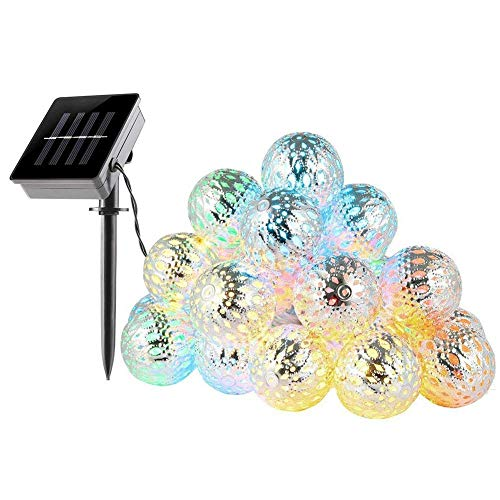Silver Moroccan Orb String Light,KINGCOO Waterproof 20LED Goble Lantern Solar Dazzling Moroccan Fairy Light with 8 Mode Ambiance Lighting for Outdoor Garden Party Christmas Decorations(Multicolor)
