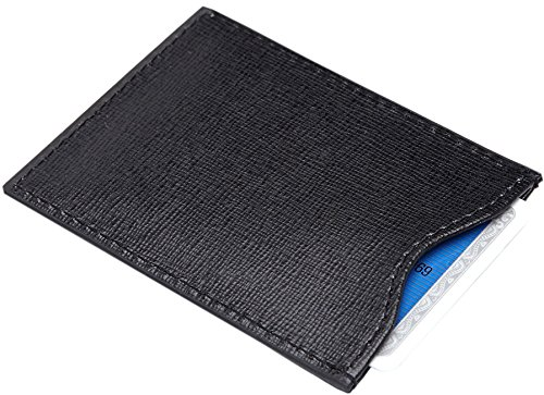 Royce Leather RFID Blocking Credit Card Sleeve in Saffiano Leather, Black
