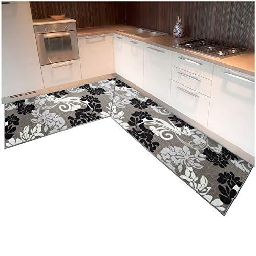 ARREDIAMOINSIEME-nelweb Tappeto Cucina ANGOLARE su Misura Bordato Tessitura Piatta Retro Antiscivolo contattare Venditore per info MOD.TAPIRO 29 angolare 10cm Grigio (G)