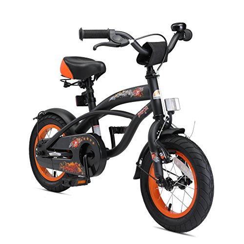 BIKESTAR® Premium Safety Sport Kids Bike with sidestand and accessories for Kids age 3 year old children | 12 Inch Cruiser Edition for boys | Diabolic Black (matt)