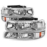 Sealed Headlights Assembly Replacement Compatible with 99-02 Chevy Silverado1500 2500, 01-02 Chevy Silverado 1500HD 2500HD 3500HD, 00-06 Chevy Tahoe Suburban 1500 2500 with Bumper Lights (Chrome)