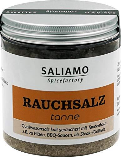 Rauchsalz Schwarzwälder Art, Salz mit kräftigem Rauchgeschmack, BBQ Salz, Gewürzsalz, Tannensalz, Buchenholzrauch, Rauch Aroma 250 g | Saliamo