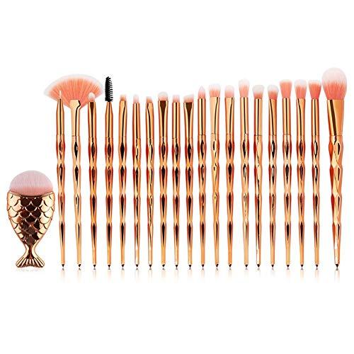 HoneybeeLY Ensemble de pinceau de maquillage de 21 PCS, pinceau de maquillage de sirène, pinceau de base, pinceau de fard à paupières, pinceau contour, pinceau de fard à joues