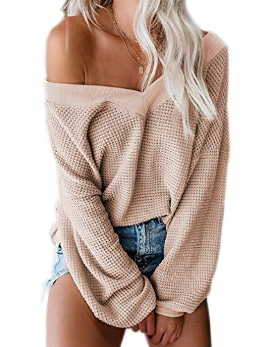 Women's Oversized V Neck Waffle Tops Off Shoulder Sweater Batwing Sleeve Ribbed Loose Pullover Knit Jumper Cracker Khaki,L