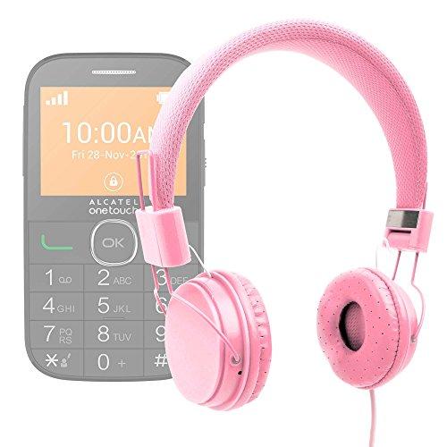 DURAGADGET Auriculares De Diadema Color Rosa para Alcatel One Touch OT 20-04G Combinar con Su Móvil!