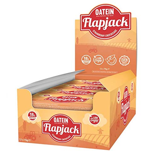 Oatein Low Sugar Protein Flapjack (20 x 70g) (Strawberry Cheesecake)